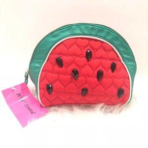NWT Betsey Johnson Watermelon Slice Cosmetic Bag